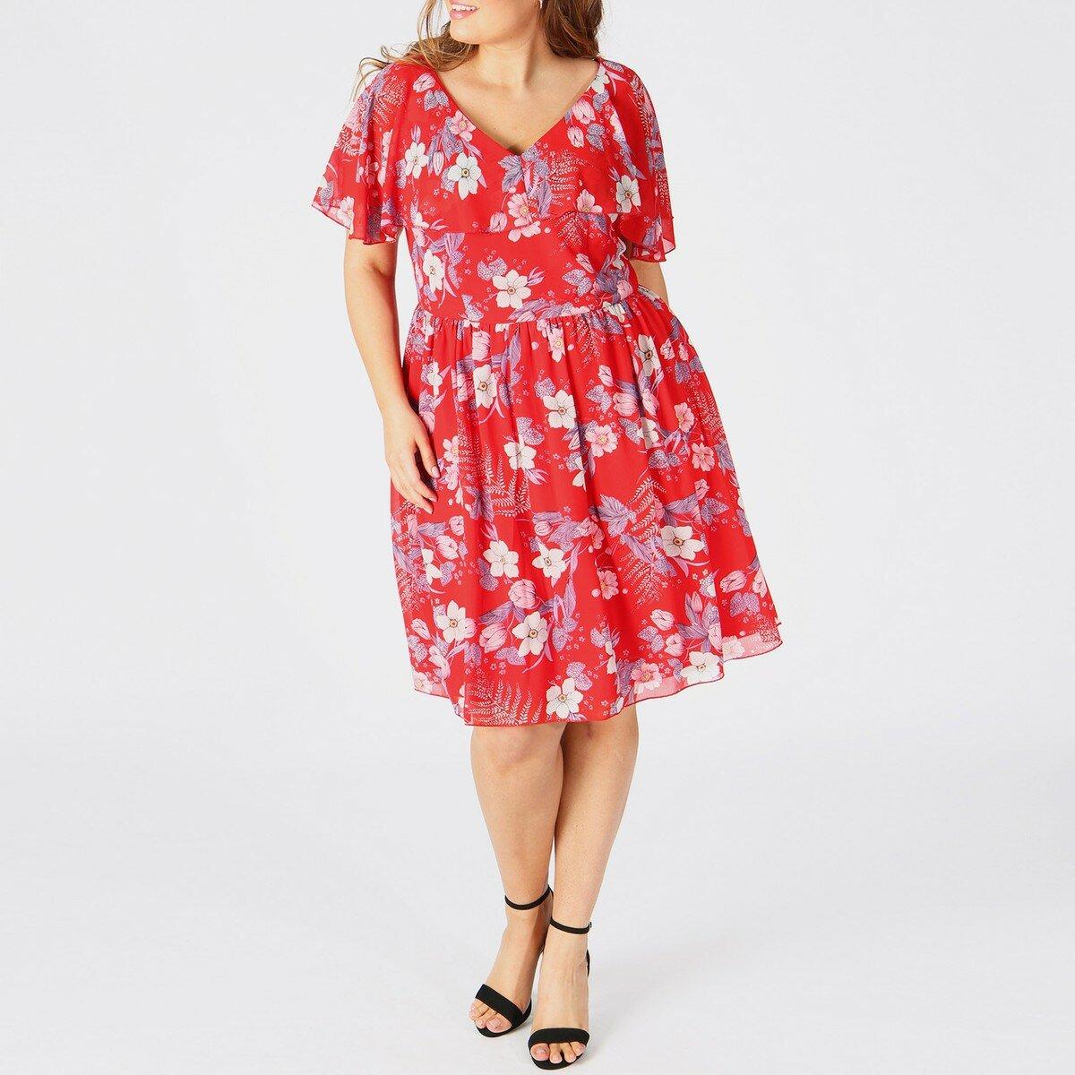 Платье-миди La Redoute Расклешенное с рисунком и короткими рукавами