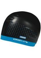 Шапочка для плавания (для длинных волос) Arena Smart Cap Training, черный, синяя полоса