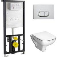 Комплект Vitra S20 унитаз с сиденьем микролифт + инсталляция + кнопка хром (9004B003-7204)