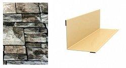 Угол внутренний для сайдинга МеталлПрофиль Lбрус, Корабельная доска, Woodstock сложный Белый камень