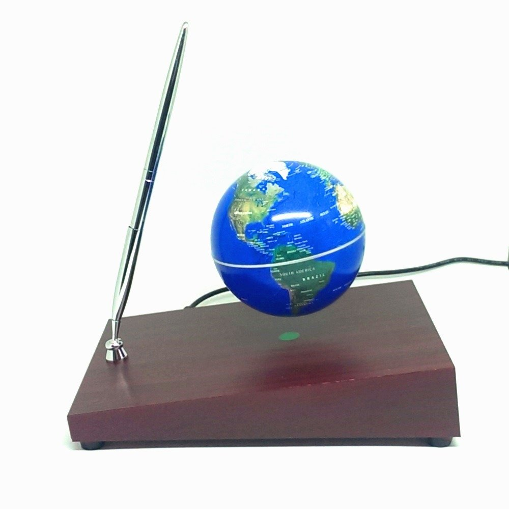 Магнитный летающий глобус на прямоугольной подставке с ручкой