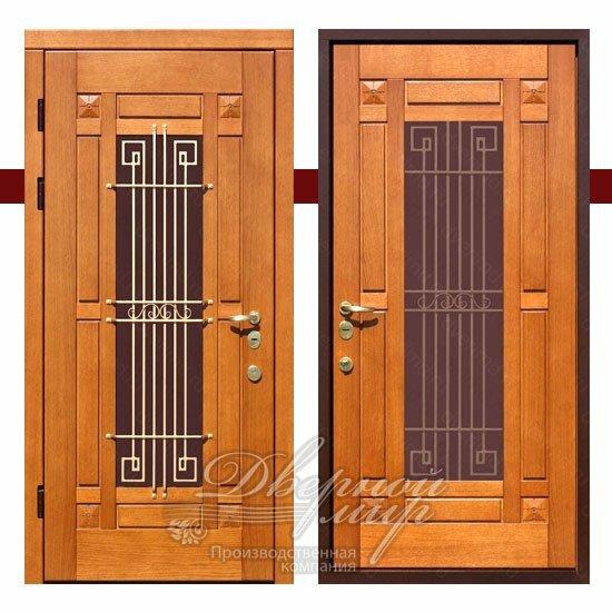 Входная дверь с массивом дерева и стеклом Элит ДВМ-701