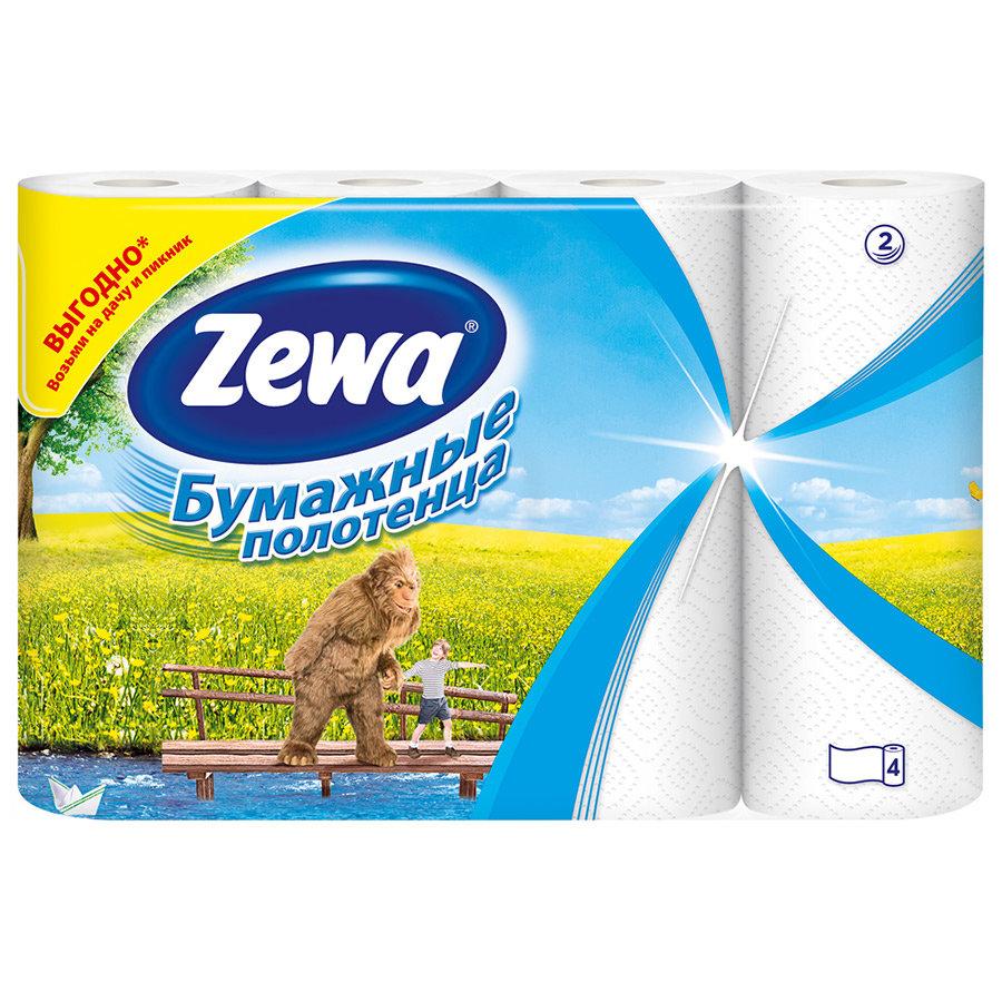 Бумажные полотенца Zewa 2 слоя, 4 рулона