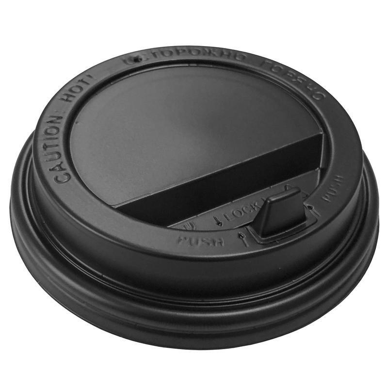 Крышка пластиковая черная D80 мм. (для стакана 250мл.) с клапаном (в упаковке 100 шт)