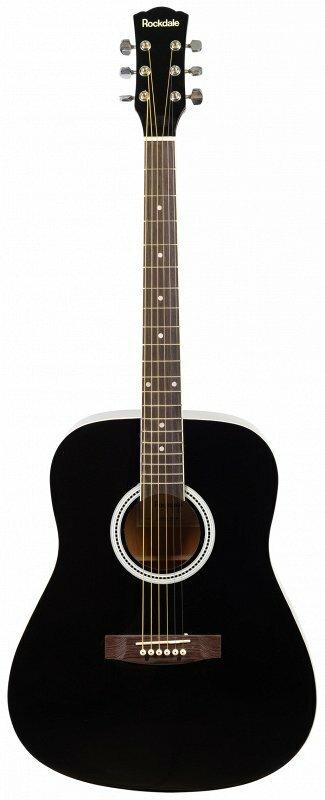 ROCKDALE AURORA 120-BK гитара типа дредноут с анкером, верхняя дека - ель, нижняя дека и обечайки - агатис, гриф - клен, наклад