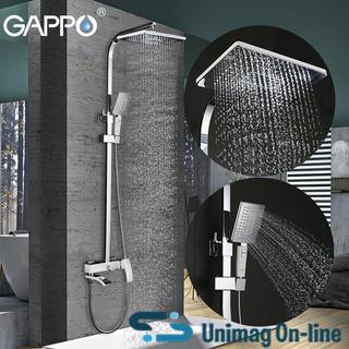 Душевая система GAPPO G2407-8 со смесителем, излив поворотный, служит переключателем на душ, ручная лейка, цвет белый