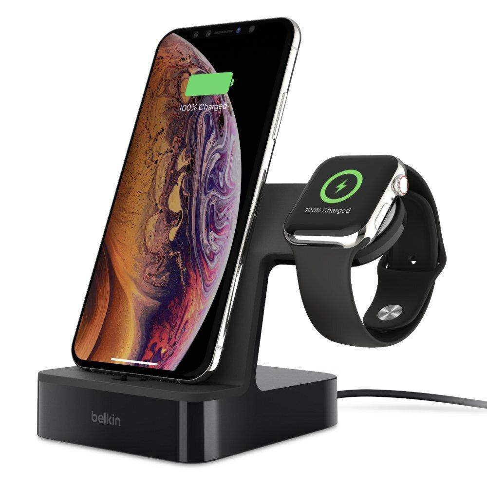 Док-станция F8J237vfBLK Док-станция Belkin для iPhone и Apple Watch, черный
