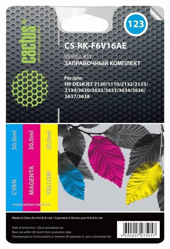Заправочный набор Cactus CS-RK-F6V16AE (HP 123) многоцветный 90мл для HP DJ 2130.