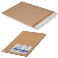 Конверт-пакет В4 плоский, комплект 25 шт., 250х353 мм, отрывная полоса, крафт-бумага, коричневый, на 140 листов, 380090.25