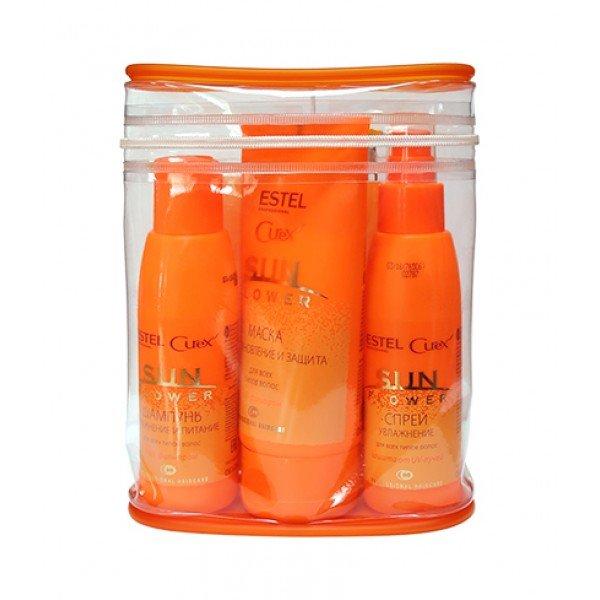 Estel Professional Curex Sun Flower - Косметический дорожный набор для волос (шампунь, маска и спрей)