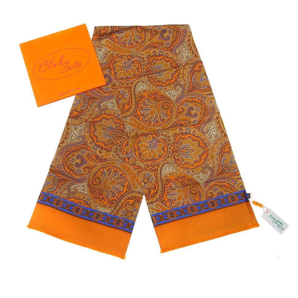 Стильное мужское кашне в оранжево-синих тонах ClubSeta 828116