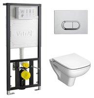 унитазы подвесные Комплект VitrA S20 9004B003-7204 кнопка хром