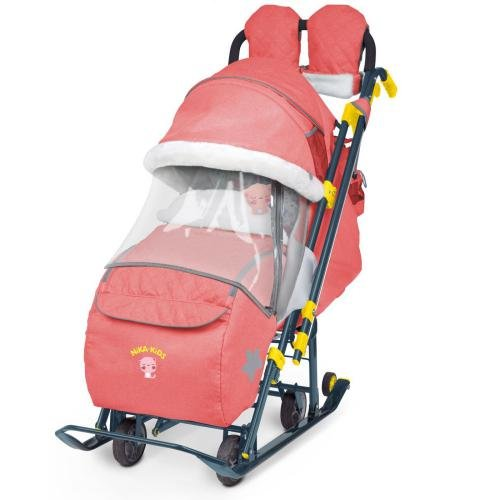 Санки-коляска Ника Детям 7-3 цвет красный в джинс стиле