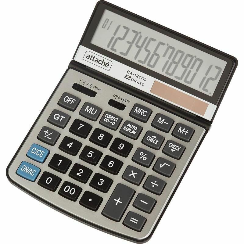 Калькулятор настольный Attache CA-1217C 12-разрядный серый (регулировка наклона дисплея)
