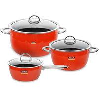 наборы кухонной посуды Kochstar Набор посуды из эмалированной стали из 2-х кастрюль и ковша с крышками, оранжевый