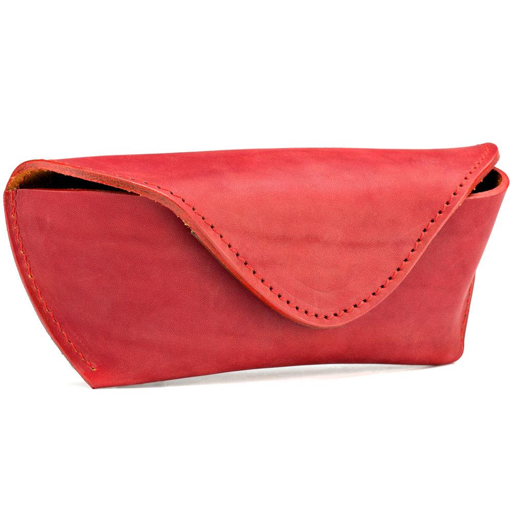 Кожаный футляр для очков (красный)