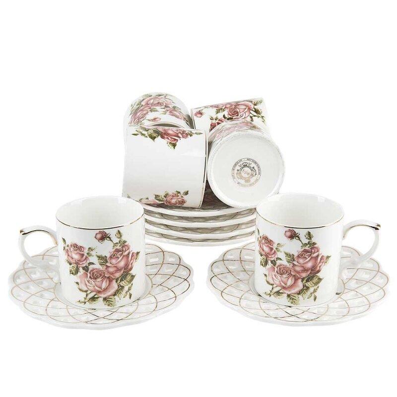 Кофейный сервиз BEST HOME PORCELAIN Best Home Рубиновые розы, 12 предметов (6 персон)