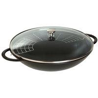 сковороды-воки Staub Чугунная сковорода-вок со стеклянной крышкой, 37 см, 5.7 л, черный