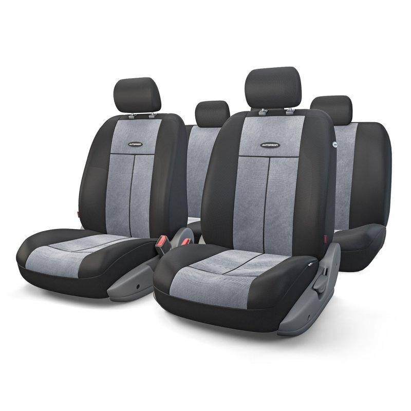 Авточехлы AUTOPROFI TT, полиэстер/велюр, чёрный/темно-серый