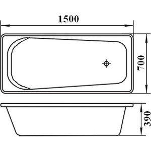Ванна стальная ВИЗ Antika 150x70x40 с ножками, с рантом (A-50001)