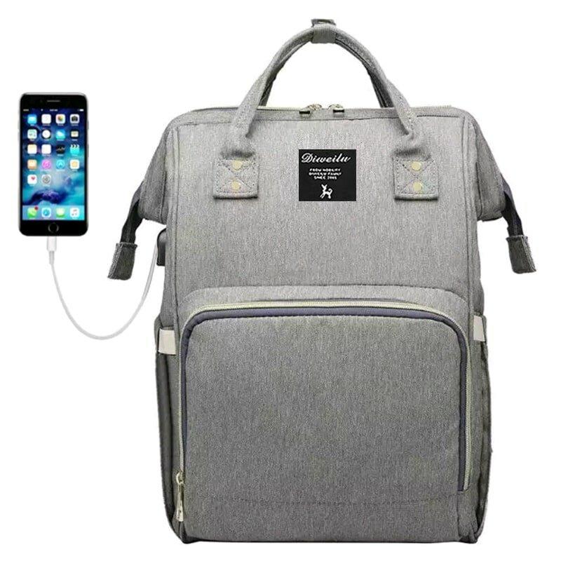 Рюкзак для мамы Diweilu с USB серый