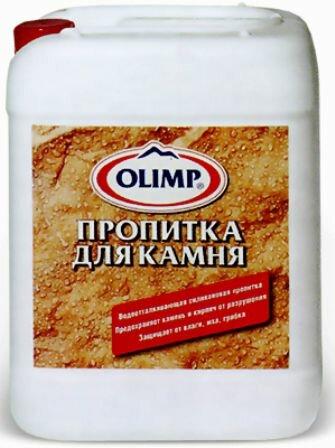Бесцветная водоотталкивающая пропитка для защиты декоративного камня Olimp (гидрофобизатор), 1 л