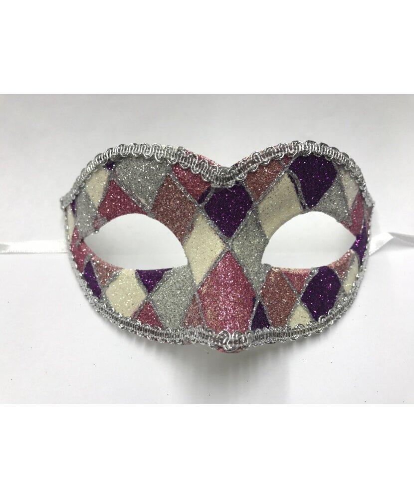Карнавальная маска Arlecchino c золотой тесьмой (фиолетово-розовая)