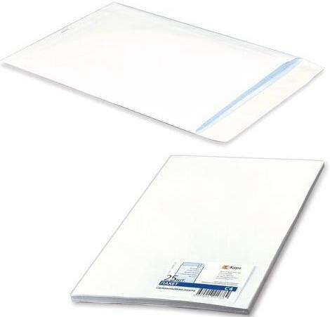 Курт 124231 Конверт-пакет с4 плоский, комплект 25 шт., 229х324 мм, отрывная полоса, белый, на 90 листов, 124090.25 ,курт