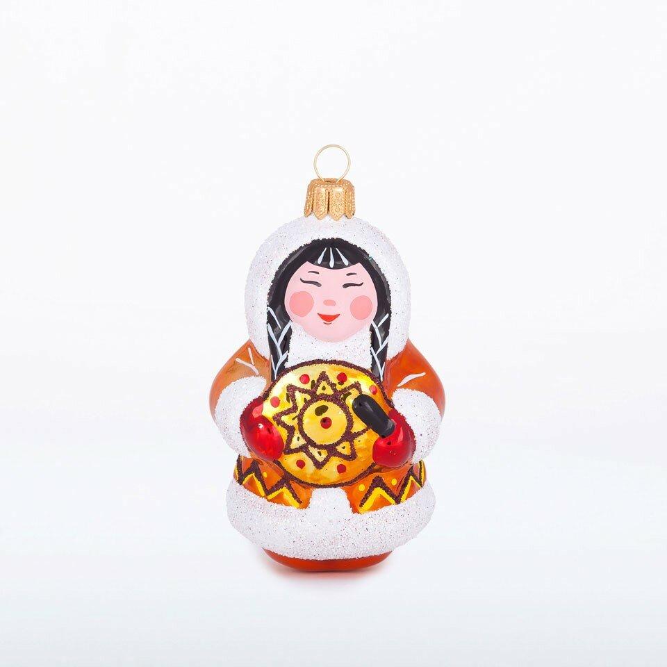 Елочная игрушка Девочка с бубном