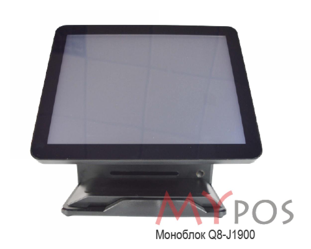 "Сенсорный POS-компьютер моноблок myPOS Q8 15.6"" LCD, J1900, RAM 4Gb, SSD 120Gb, 6 USB, 2 RS232, VGA, HDMI, без ОС"