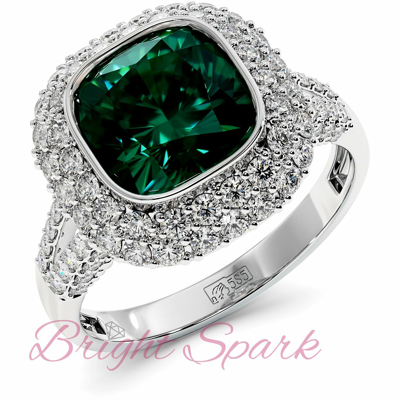 Золотое кольцо с изумрудом кушон в обрамлении россыпи камней Sharon 2,8 карата