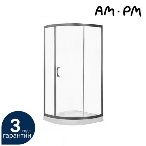 Душевой уголок, 90x90, профиль матовый хром, стекло прозрачное, Am.Pm Bliss L Solo Slide (W53E-315-090MT)