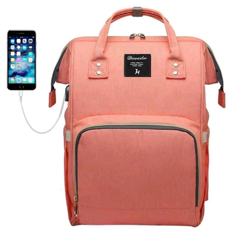 Рюкзак для мамы Diweilu с USB розовый