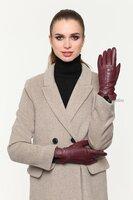 Классические женские кожаные перчатки бордового цвета Rime 109759