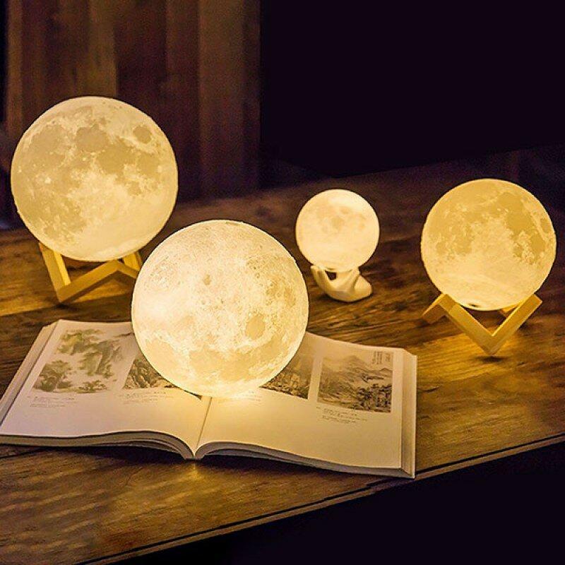3D Светильник Лампа Луна - 3D moon lamp, 15 см с пультом