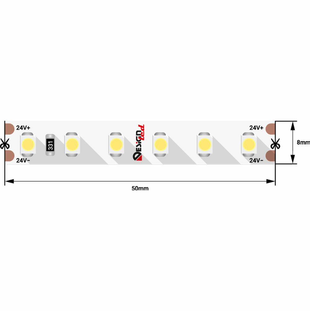 """Светодиодная лента DesignLed """"DSG3120-24-W-33"""" 24V IP33 SMD3528 9.6 Вт/м, 827 Лм/м, 120 диодов на 1 метр, ширина 8 мм, цвет холодный белый. Минимальный заказ от 5 м.п., SW2482"""