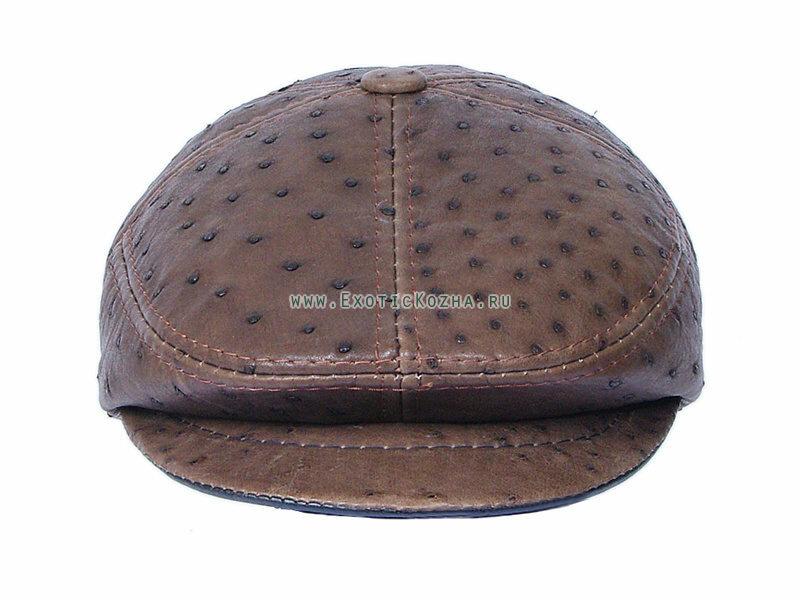 Мужская кепка из натуральной кожи страуса