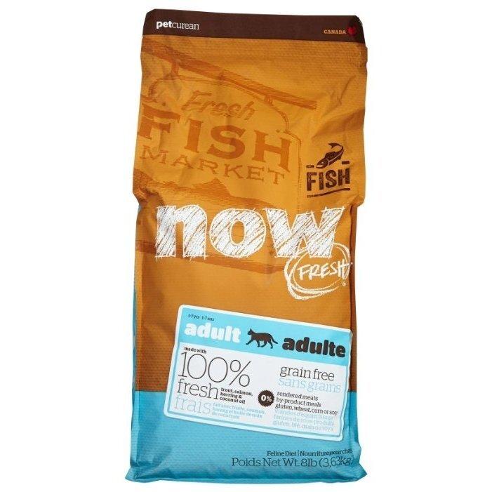 Корм сухой NOW FRESH Grain Free Fish for Adult Cats беззерновой, для взрослых кошек с чувствительным пищеварением, с Форелью и Лососем 3,63кг