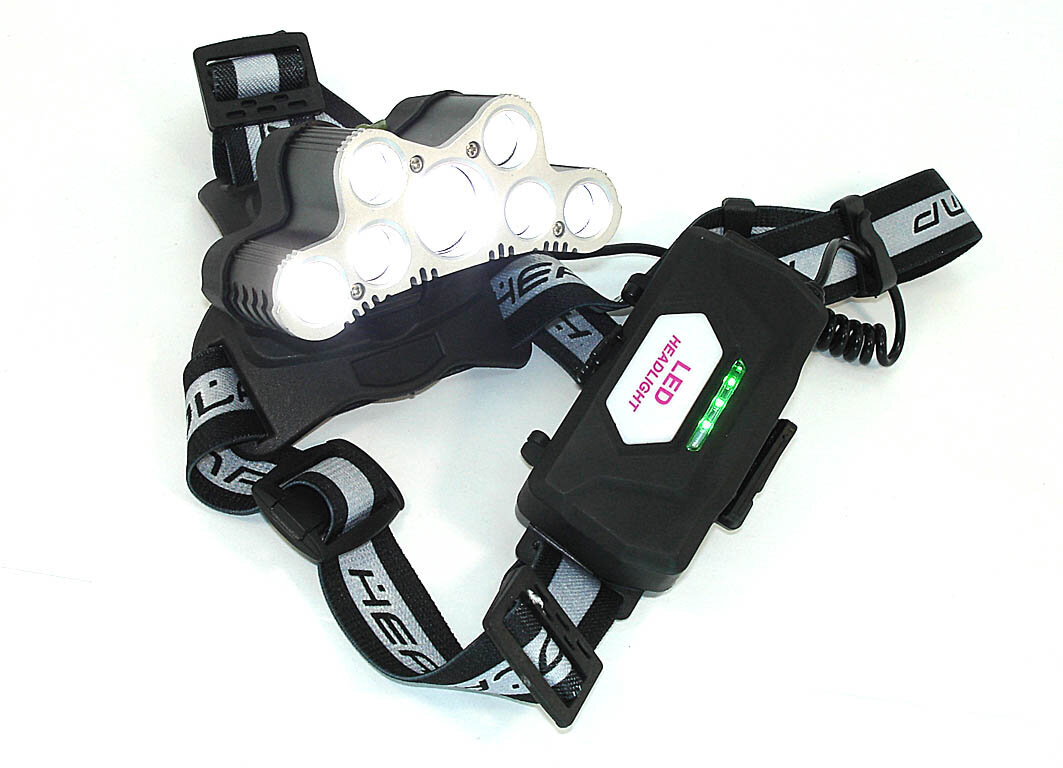 Налобный светодиодный фонарь 7LED с зарядкой от USB (2x18650 батареи)
