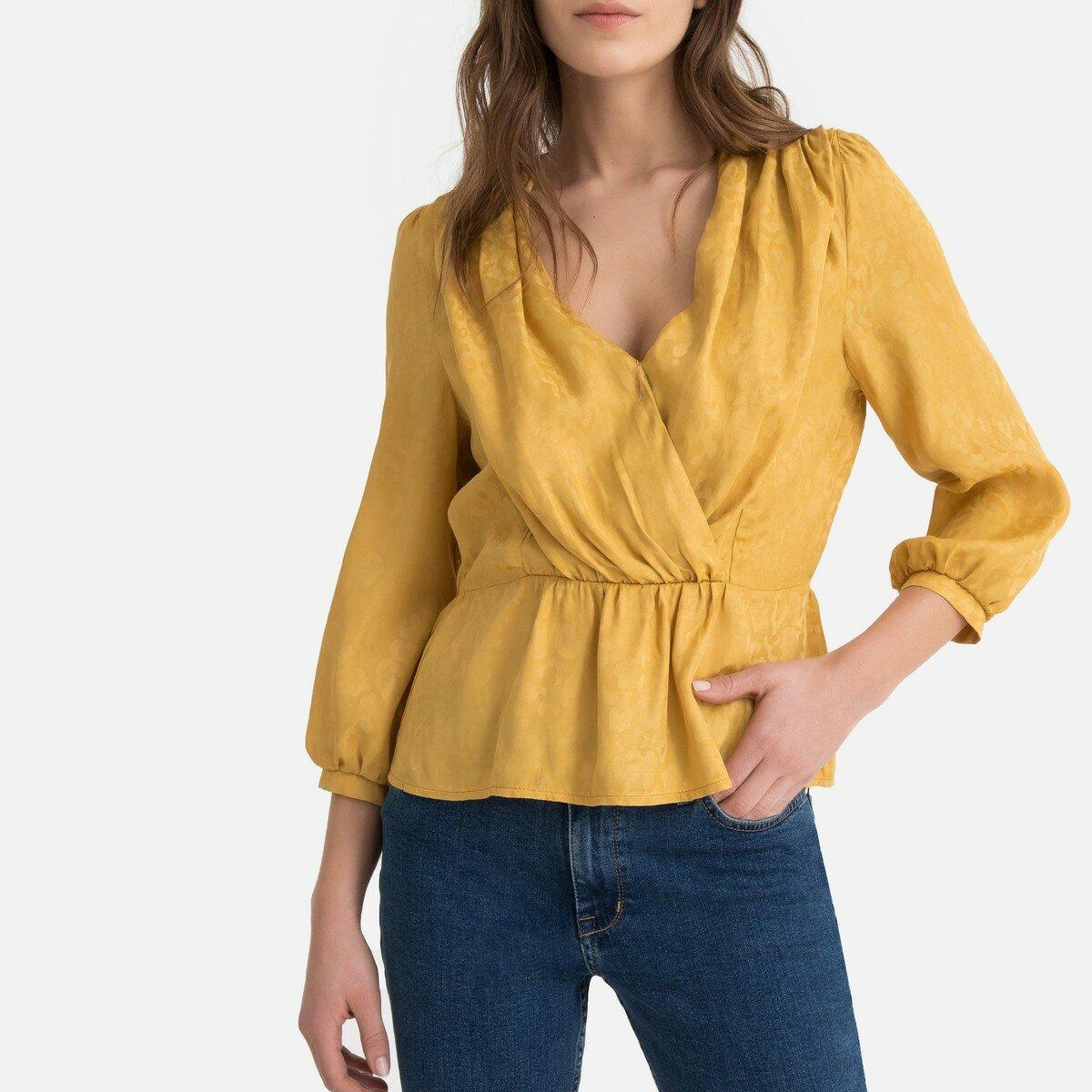 Блузка La Redoute С V-образным вырезом и рукавами 34 (FR) - 40 (RUS) желтый