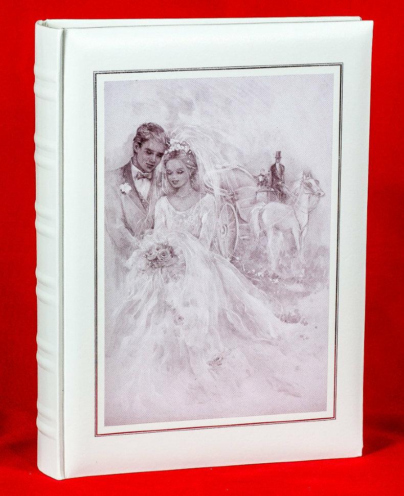 """Фотоальбом свадебный """"Холст"""" на 300 фото,10х15 см, кармашки, книжный переплёт"""