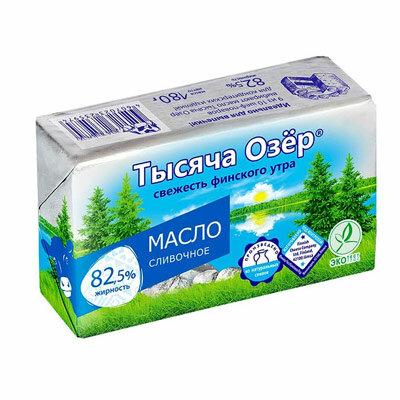 Масло Тысяча Озер сливочное 82,5% бзмж 180 гр