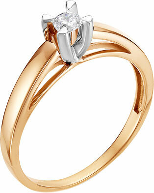 Золотое помолвочное кольцо Diamond Union 5-2242-103-1K с бриллиантом, размер 17 мм