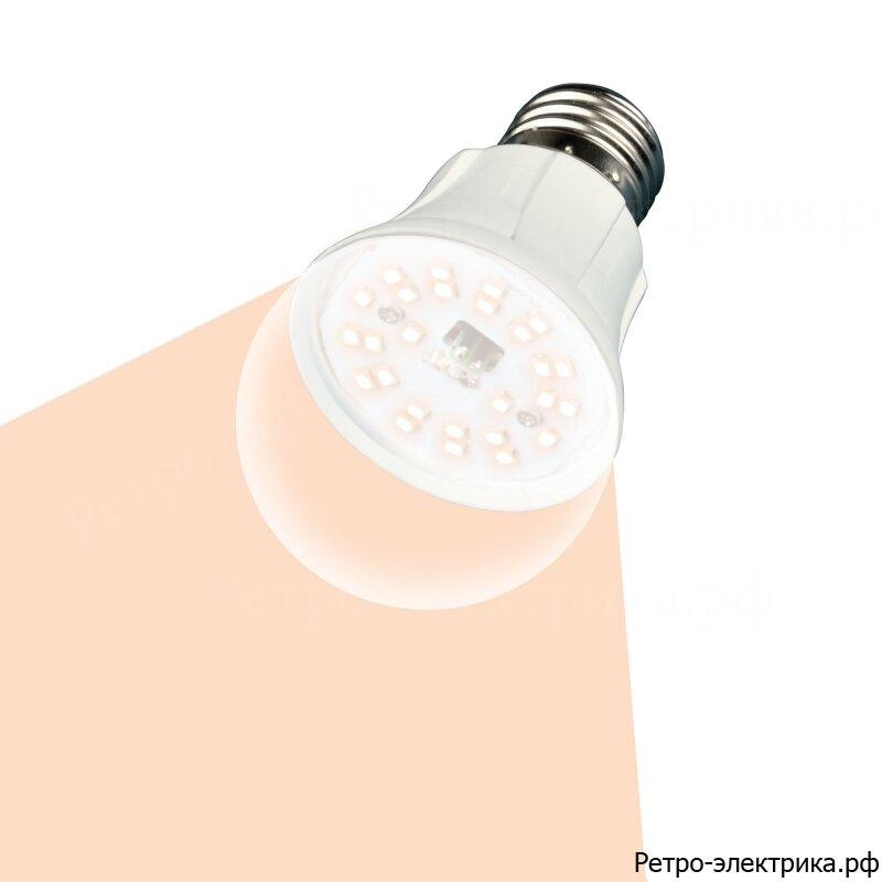 "Лампа светодиодная для растений. LED-A60-10W/SPFR/E27/CL PLP01WH Форма ""A"", прозрачная колба. Uniel"