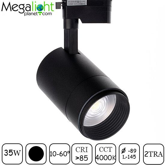 Трековый светильник CITY UNO ZOOM 10-60° COB LED 35W DW 4000K CRI85, Черный корпус 2TRA Однофазный