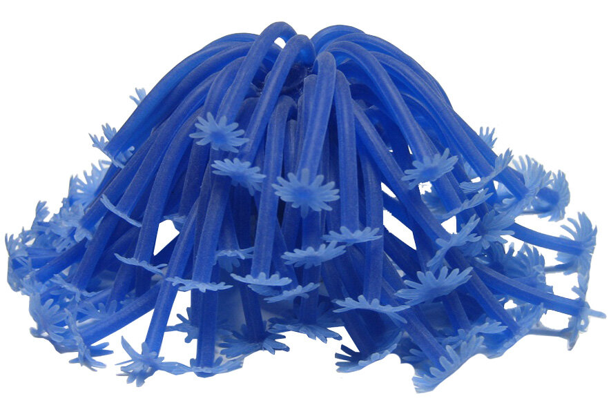 Декор для аквариума Коралл силиконовый Vitality на керамической основе синий 13 х 13 х 10 см RT187B (1 шт)