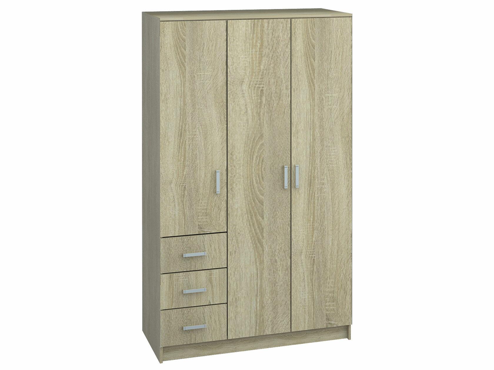 Распашной шкаф НКМ Лофт шкаф 3-х дв. с ящиками Светлое дерево
