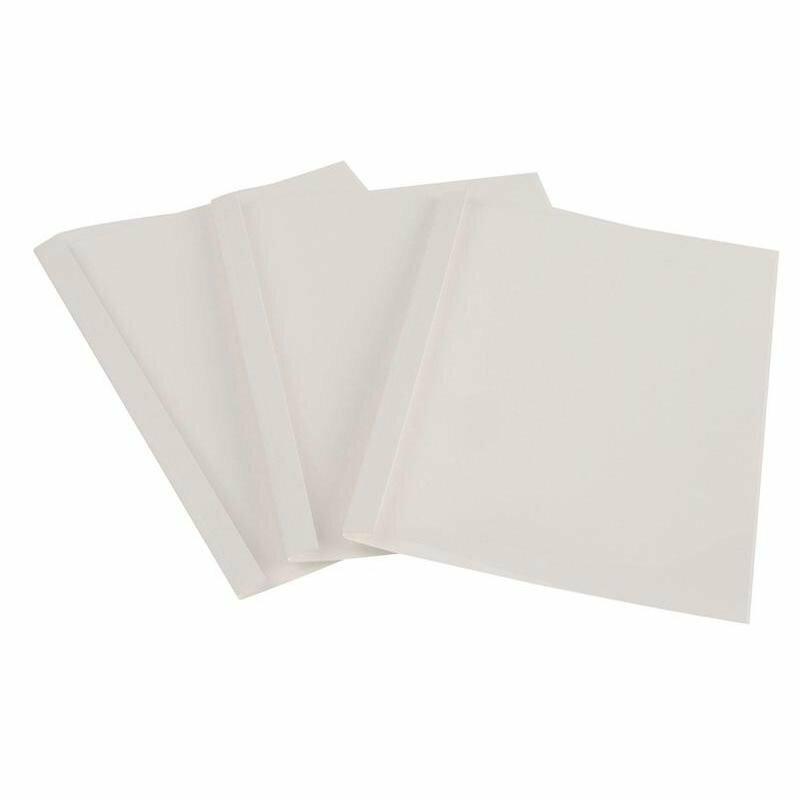 Обложки для термопереплета ProMega Office А4 картонные/пластиковые белые, корешок 6 мм, 100 штук в упаковке