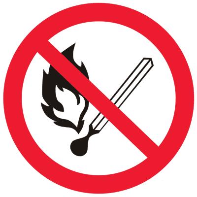 Запрещающий знак Запрещается пользоваться открытым огнем и курить (P02)