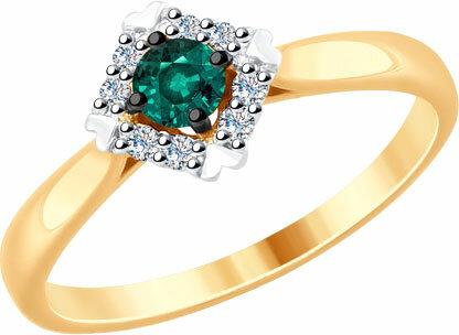 Золотое кольцо SOKOLOV 6017020_s с искусственным изумрудом, бриллиантами, размер 17 мм